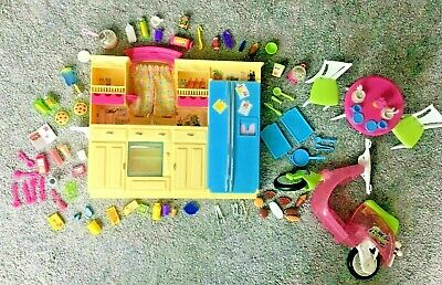 Pre-Owned BARBIE Large Mixed Lot/Bundle Kitchen Mo-ped Furniture Accessories