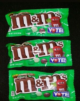 Three M&M's Vote Limited Edition Flavors Crunchy Mint 1.35 oz Best By 11/2018.