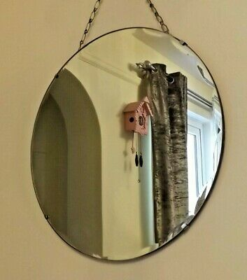 Vintage Round  Mid Century Frameless Scalloped Edge Mirror