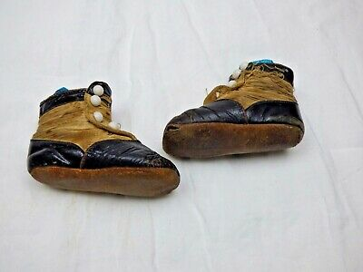 Pair Antique Childs Shoes with Button Top