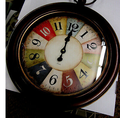 "Antique Bronze Stopwatch Style Wall Clock 17"" In Diameter  Oto48"