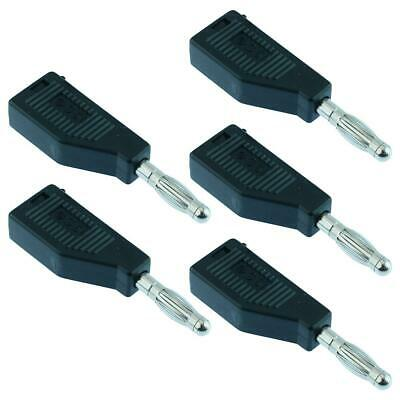 5 x Black 4mm Stackable Test Plug Banana Connector R8-19