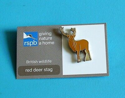 RSPB Red Deer Stag stud pin badge charity