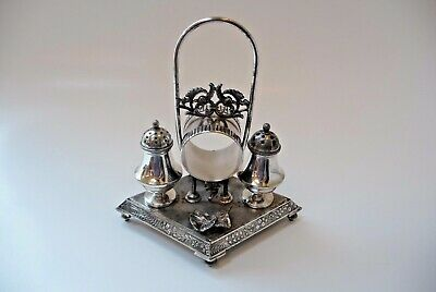 Victorian Silver Plated Napkin Ring, Salt, Pepper, Cruet Set MERIDIAN Antique