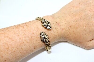 A Stunning Antique Victorian Etruscan Sterling Silver Gilt 925 Bangle #12756f
