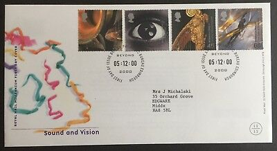 GB 2000 Sound and Vision First Day Cover - Bureau Cancel - with insert
