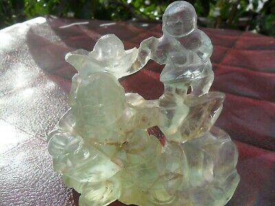 Antique Chinese Carved Rock Crystal Figure of a Scholar and Young Boy  Statue
