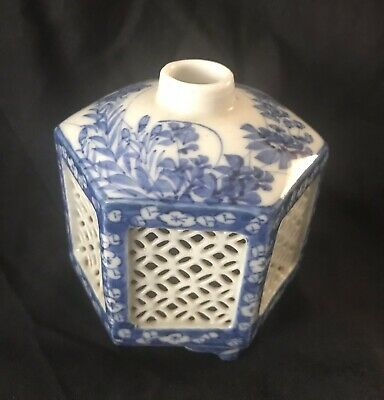 Antique Japanese Hexagonal Porcelain Reticulated Cricket Cage, Incense Censor
