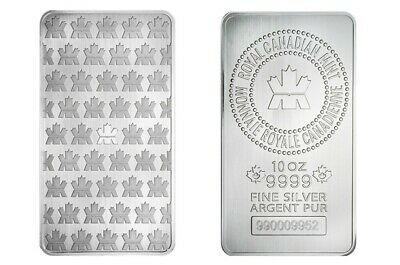 10 oz. Royal Canadian Mint RCM 9999 Fine Silver Bar