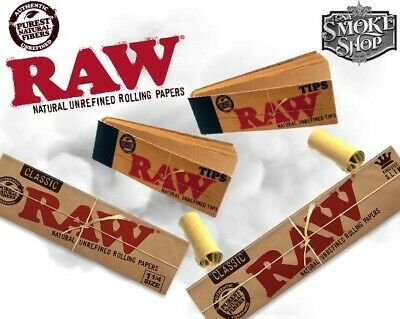 RAW CLASSIC Rolling Papers King Size Slim 110 mm with Roach Filter Tips Rizla