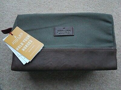 New Joules Hold Your Horses Mens Green Toiletries Wash Bag gift or for holiday