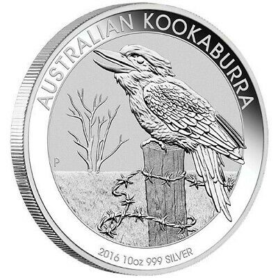 2016 Perth Mint 10oz Kookaburra Silver Coin - BU Perfect Condition In Capsule!