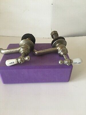 2 Antique Vintage  By Regent Faucet Porcelain Chrome  HOT - COLD - For Parts