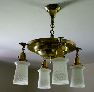 Antique Brass Chandelier & Four Satellite Embossed Shades Ceiling Light Fixture