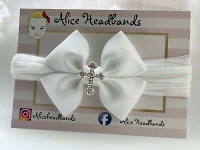 Baby Girl Headbands White Soft Stocking Band With Cross Baptism Bow Christening
