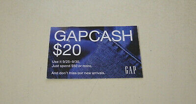 Gap Gapcash Coupon $20 Off $50 Good Only 9/25 - 9/30 2019 On-Line Or In Store