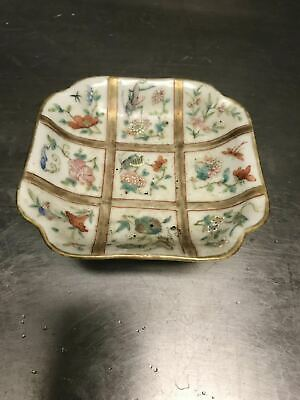 19C Chinese Antique Famille Rose Porcelain High Foot Plate Mark