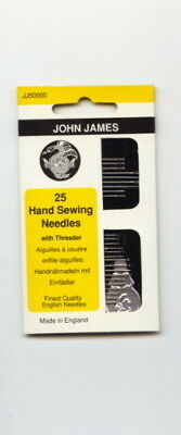 John James 25 Hand Sewing Needles with Threader
