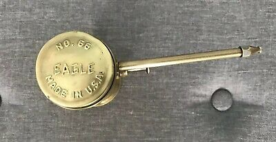 Vintage Eagle Brass Oil Can Oiler No. 66 Finger Pump with Fixed Spout.