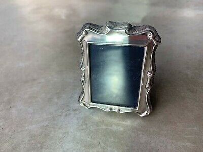 Vintage Sterling Silver Photo frame Hallmarks Blue Velvet backing England 20thC