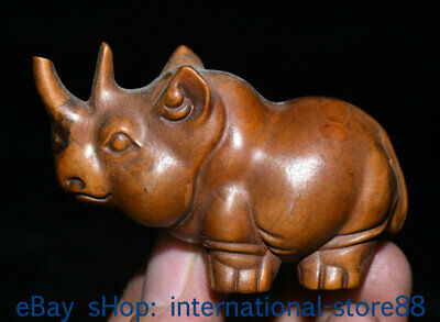 70MM Old Chinese Boxwood Hand-carved Feng Shui rhinoceros Luck Statue