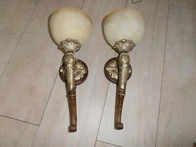 TWO wall sconces antique style solid bronze AND WOOD