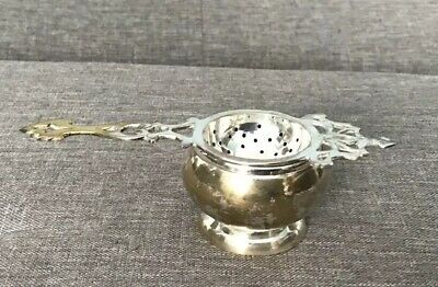 Silver Plate Tea Strainer With Drip Bowl Vintage Or Antique
