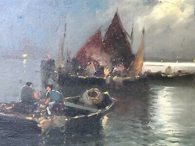 Antique Old Oil On Canvas Painting Pergale European Fishing Scene Marine Boats