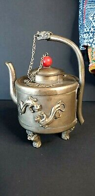 Old Tibetan Local Silver / Metal Tea Pot …beautiful collection piece