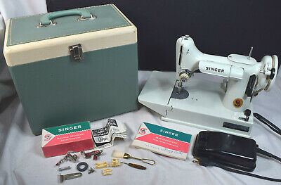 NICE Working Singer 221 221K Green Featherweight Sewing Machine, Case, More