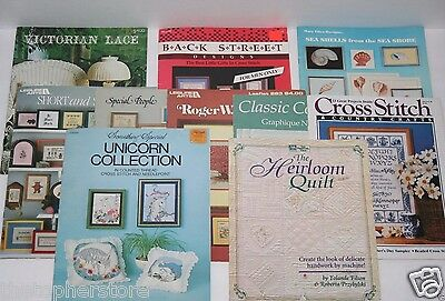 Lot of 10 Cross Stitch Pattern Book Leaflets Books - Including Heirloom Quilt