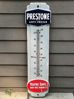 "Vintage Prestone Anti-Freeze Gas Oil 36"" Porcelain Metal Thermometer Sign No Res"