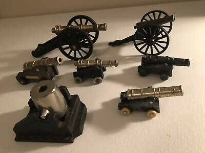 Vintage Miniature Brass and Cast Iron Cannon Lot Of 7