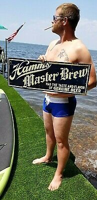 Vintage RARE Pre Prohibition Theo Hamms Beer Master Brew metal sign 28X10