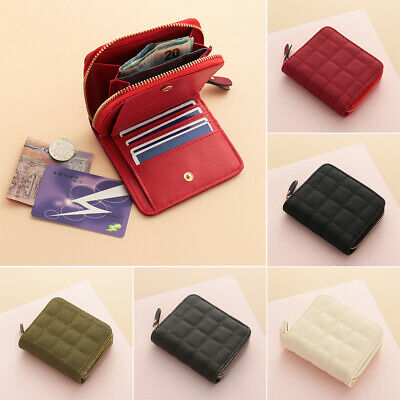 Coin Purse Leather Women's Short Wallet Bifold Zipper Clutch Small Handbag