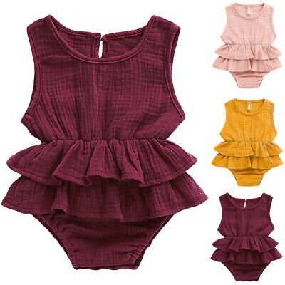 Summer Newborn Baby Girl Ruffle Romper Bodysuit Jumpsuit Sundress Outfit Clothes
