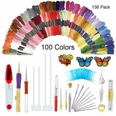 136PC Embroidery Pen Set Punch Needle Threads Craft For Sewing Knitting Tool Kit