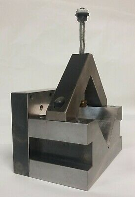 "Machinists / Toolmakers V Block Approx  3""x 3""x 6"" with Base Plate and V-Clamp"