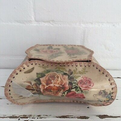 Vintage Greeting Card Box Pink Floral 50's Decor FABULOUS