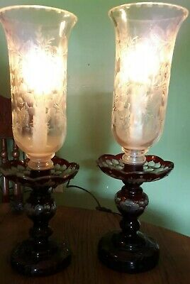 Antique Pair  Red Cranberry Cut to Clear Etched Glass Lamps Bohemian  Stunning