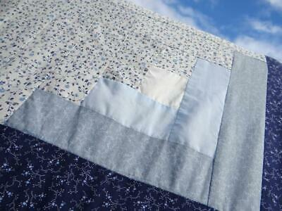 Fine Vintage Country Blue & Snow White A Trip Around The World Cream Lace Quilt