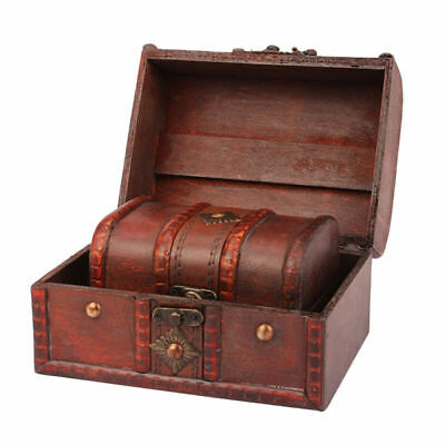 2pcs Wooden Antique Metal Lock Vintage Small Case Box for Home Jewelry Treasure