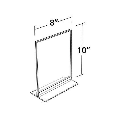 Clear Acrylic Vertical/Horizontal T-Strip Sign Holder 8W x 10H Inches -Box of 10
