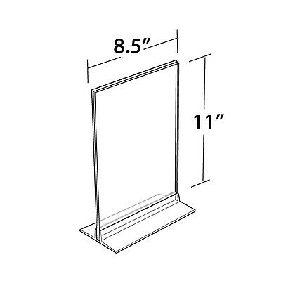Clear Acrylic Vertical/Horizontal T-Strip Sign Holder 8.5W x 11H Inches - 10 Pc