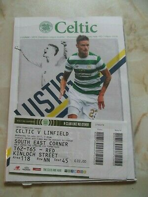 CELTIC v LINFIELD CHAMPIONS LEAGUE GAME 2017-18 inc TICKET NORTHERN IRELAND