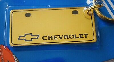 Vtg Retro 80's Chevrolet Chevy License Plate Solid Brass Keychain Old Stock NOS