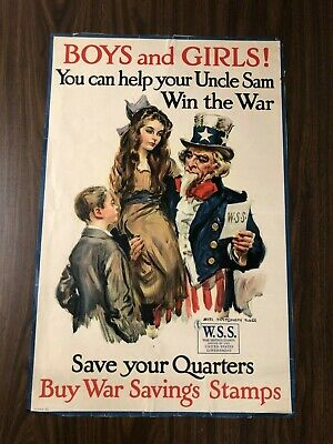 UNCLE SAM BUY WAR Savings Stamps World War 1 ORIGINAL Poster Boys & Girls JKT1