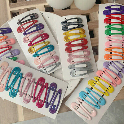 10x/set Candy Colors Snap Hair Clips Bobby Pin Metal Hairpins Girls Barrette Hot