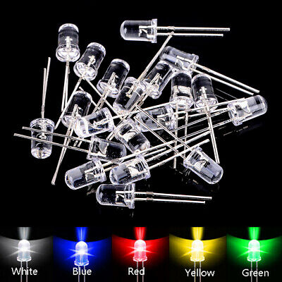 100 x 5mm Ultra-Bright LED Diodes Water Clear Red Green Blue Yellow White Pack