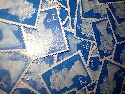 250 x 2nd CLASS STAMPS BLUE SECURITY UNFRANKED OFF PAPER NO GUM. CHEAPEST PRICE